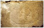 Graffito à sujet maritime trouvé en 1997 dans le clocher de l'église